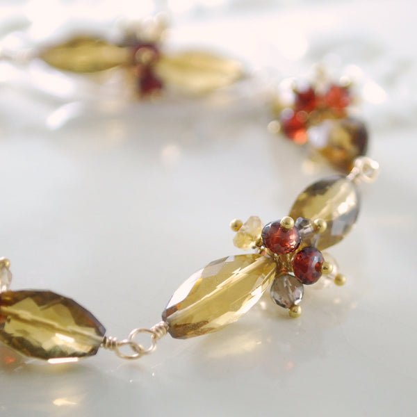 Fall Wedding Bracelet with Cognac Quartz and Garnet - Fireside