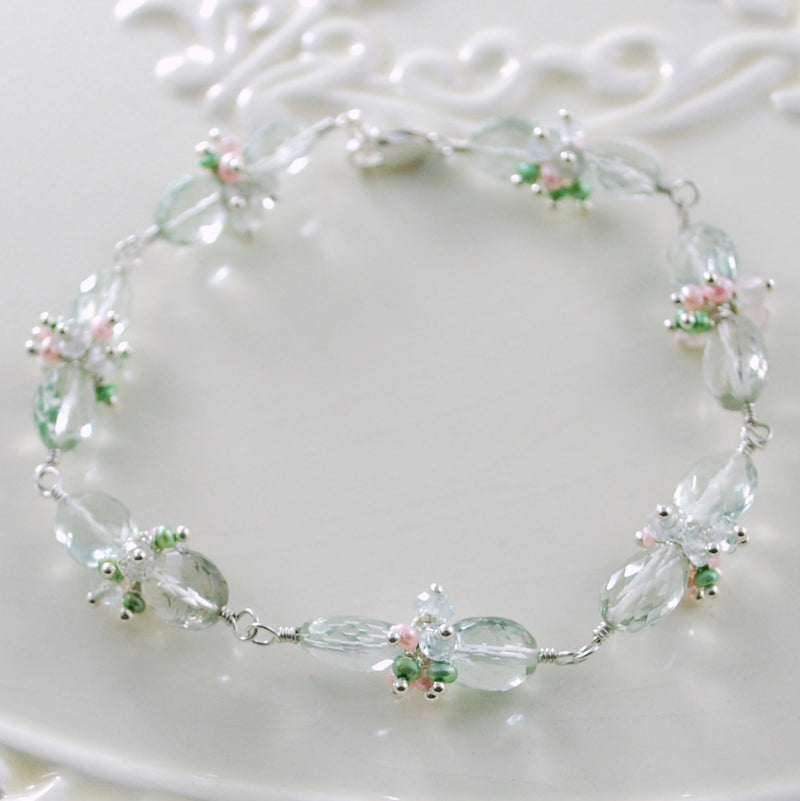 Green Amethyst Bracelet for Spring Bride - Made to Order - First Blush