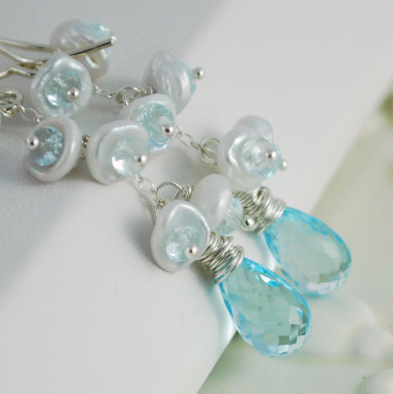 Blue Topaz Bridal Earrings with Pearls - Snowy Sky