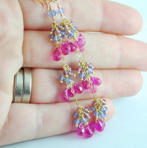 Hot Pink Gemstone Earrings with Tanzanite and Spinel - Sweet Peas