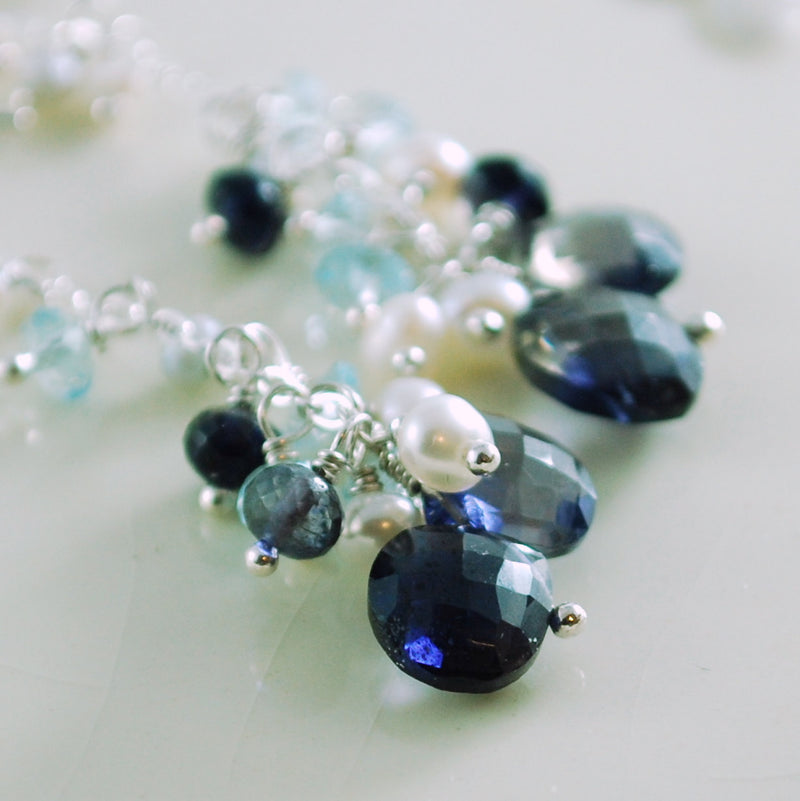Long Navy and White Gemstone Earrings - Winter Night
