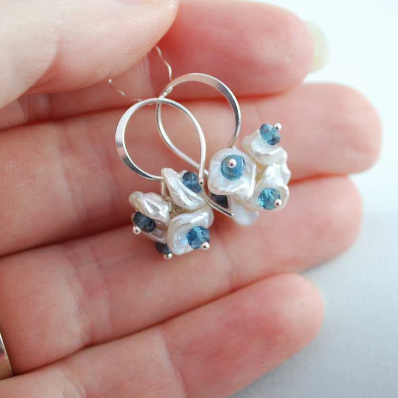London Blue Topaz Earrings with Teal Gemstone