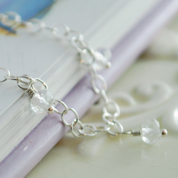 Wire Wrapped Sterling Silver Anklet April Birthstone Crystal Quartz Child Children Girl Jewelry