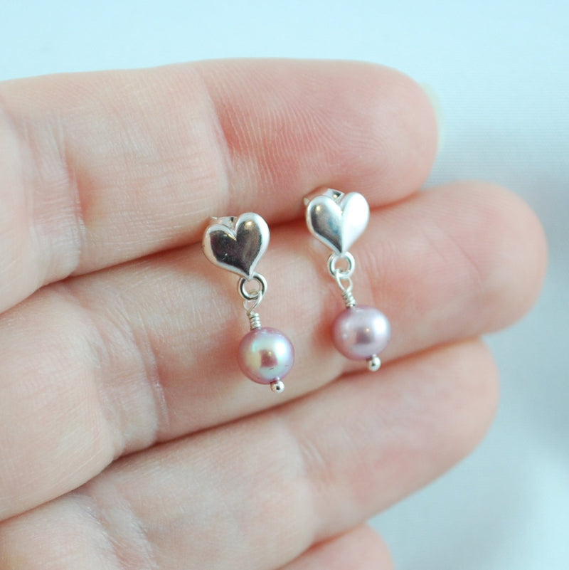 Lilac Pearl Dangle Earrings for Girls