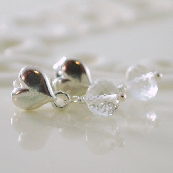 Crystal Quartz Earrings with Heart Ear Posts