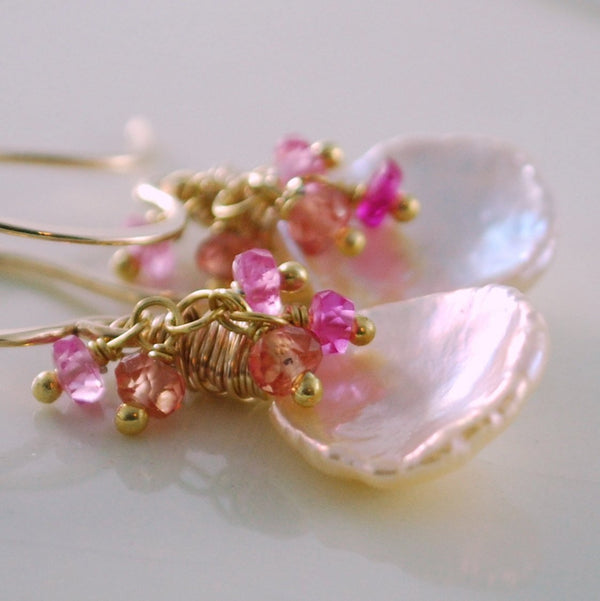 Keshi Pearl Earrings and Padparadscha Sapphire Gemstone