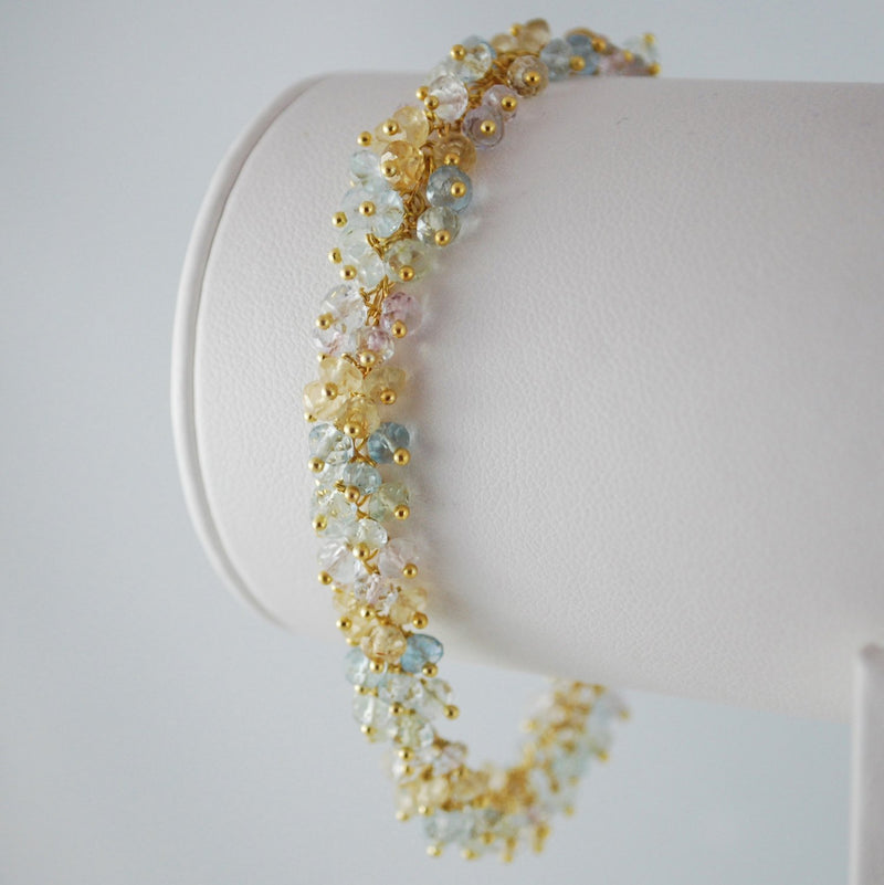 Pastel Blue Aquamarine Cluster Bracelet in Gold or Silver - Forget Me Not