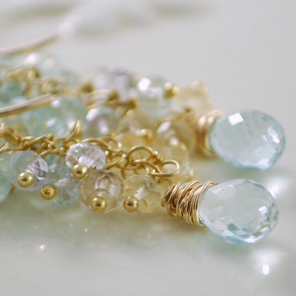 Pastel Aquamarine Cluster Earrings - Forget Me Not
