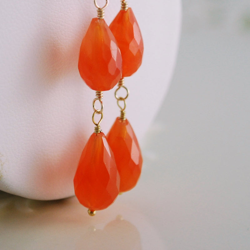 Long Tangerine Dangle Earrings