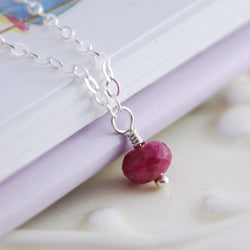Dainty Ruby Necklace in Sterling Silver