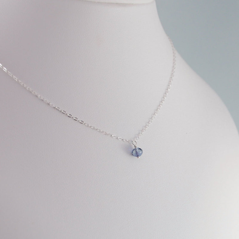 Navy Blue Iolite Necklace for Child in Sterling Silver