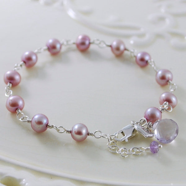 Lilac Pearl Bracelet for Flower Girls