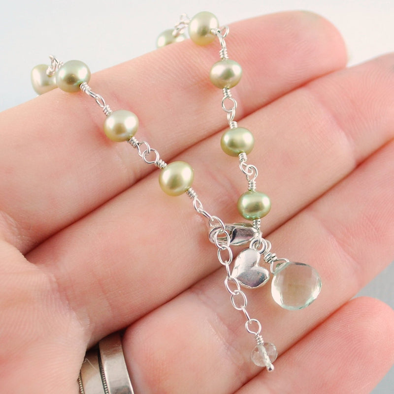 Mint Green Pearl Bracelet for Flower Girls