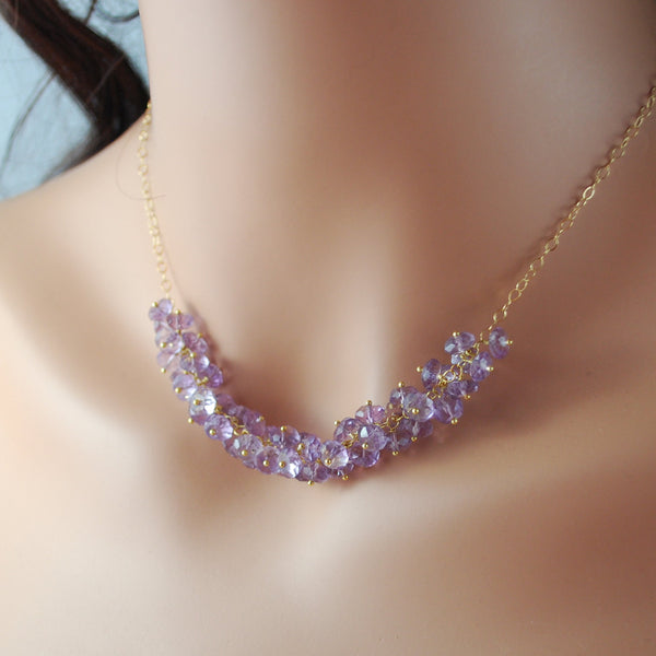 Genuine Amethyst Cluster Necklace - Made to Order - Lilacs