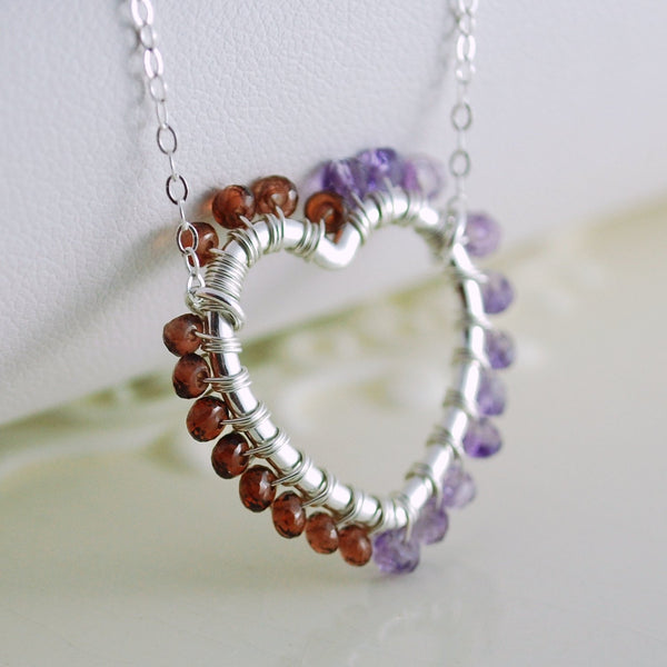 Mother's Day Necklace with Wire Wrapped Heart Pendant