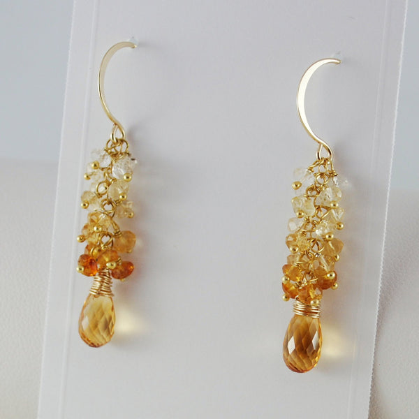 Citrine Cluster Earrings in Gold - Sunshine