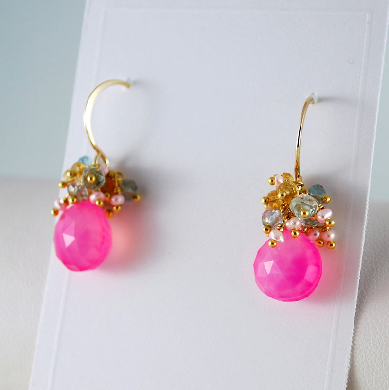 Bright Pink Earrings with Aquamarine and Citrine - Cotton Candy