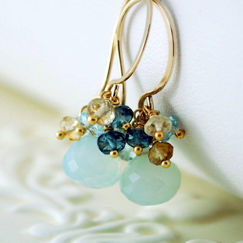 Beach Wedding Earrings with Aqua Gemstones - Beach Walk