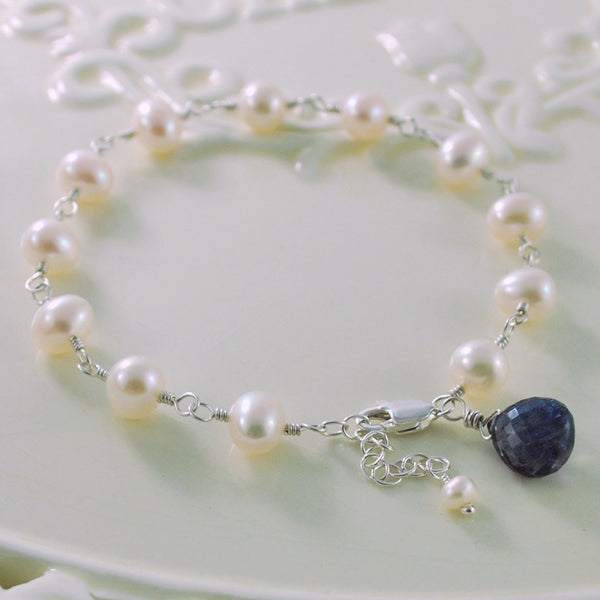 White Pearl Bracelet with Iolite Gemstone