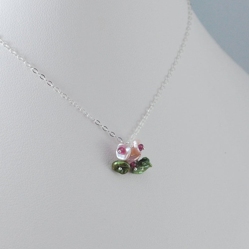 Child's Flower Blossom Pearl Necklace
