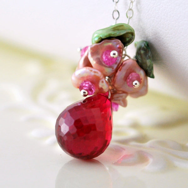 Red Topaz Necklace with Genuine Ruby and Pearls - Red Rose