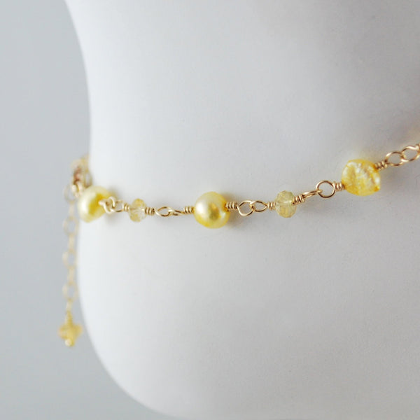 Freshwater Pearl and Citrine Anklet