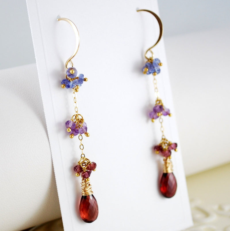 Garnet Earrings and Tanzanite Amethyst Rhodolite Gemstone