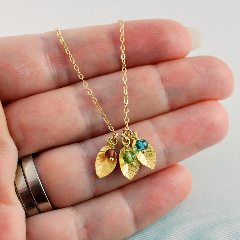 Gold Family Necklace for Mom with Birthstones