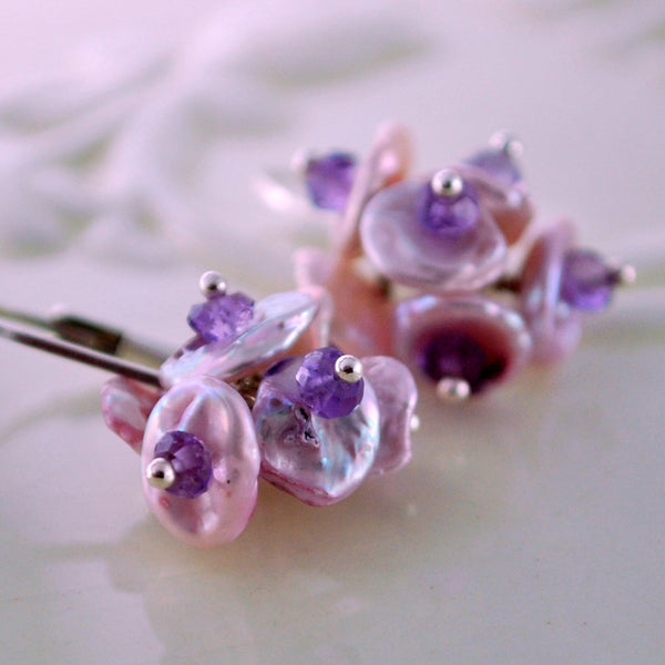 Freshwater Pearl Earrings for Child Lavender Lilac Flower Blossoms Genuine Amethyst February Birthstone Sterling Silver Jewelry