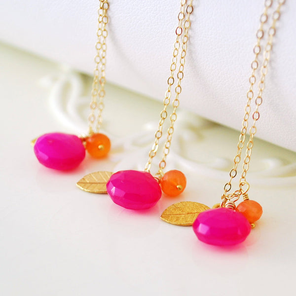 Hot Pink Bridesmaid Necklace with Orange Carnelian