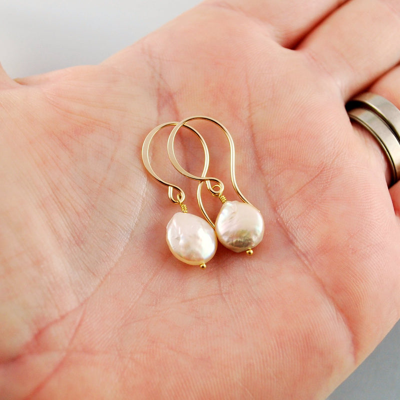 Peach Coin Pearl Earrings