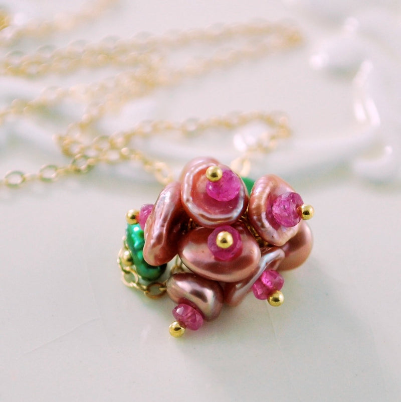 Rose Pink Keshi Keishi Pearl Necklace, Genuine Ruby Gemstone