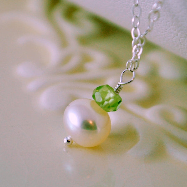 Peridot and Pearl Drop Necklace for Girls