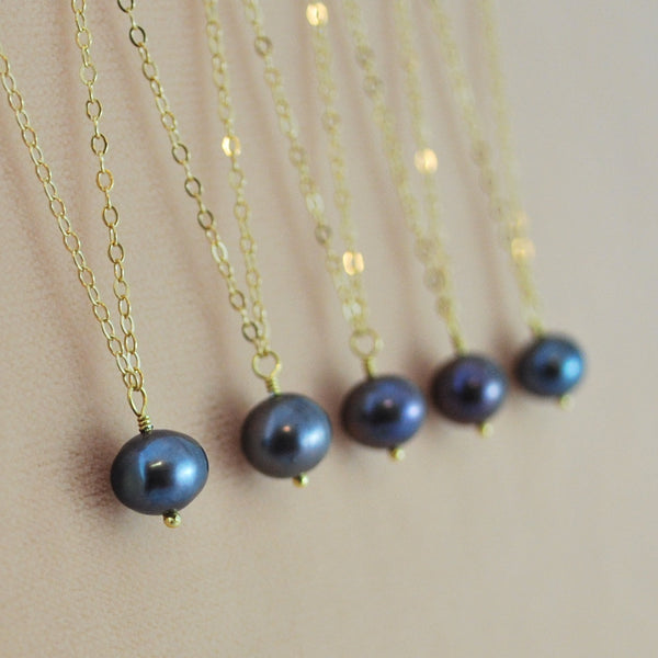 Charcoal Grey Freshwater Pearl Bridesmaid Necklace