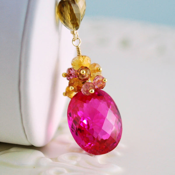 Hot Pink Topaz Necklace with Quartz and Citrine - Golden Morning