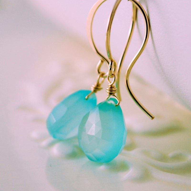 Chalcedony Earrings with Bright Aqua Blue Gemstone