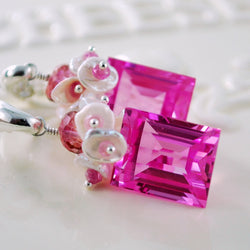Pink Topaz Statement Earrings with Pearls and Rubies - Pink Sky
