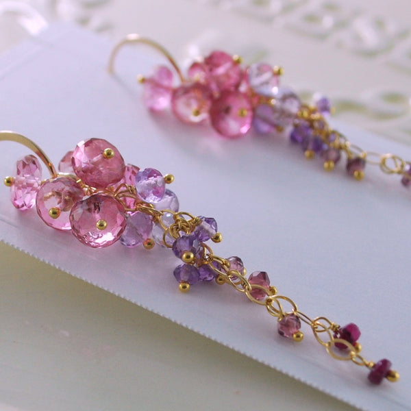 Pink Topaz Cluster Earrings with Amethysts and Rubies - Trailing Rose
