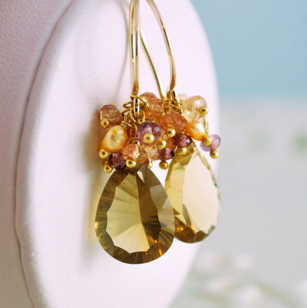 Fall Wedding Earrings with Quartz Gemstones - Indian Summer