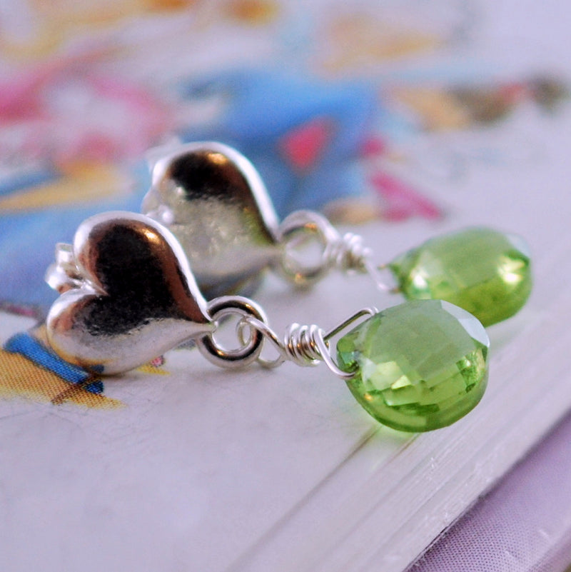 Genuine Peridot Dangle Earrings for Girls