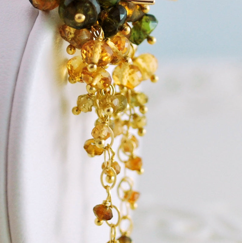 Autumn Wedding Earrings with Tourmaline and Citrine - Cornucopia