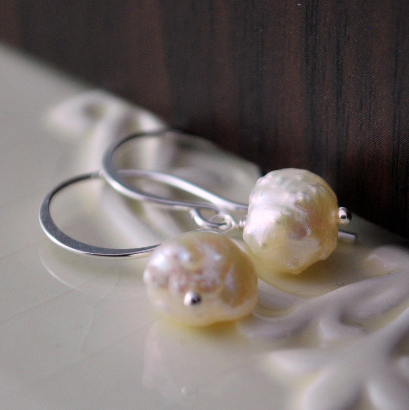 Snowball Earrings with Genuine Freshwater Pearl