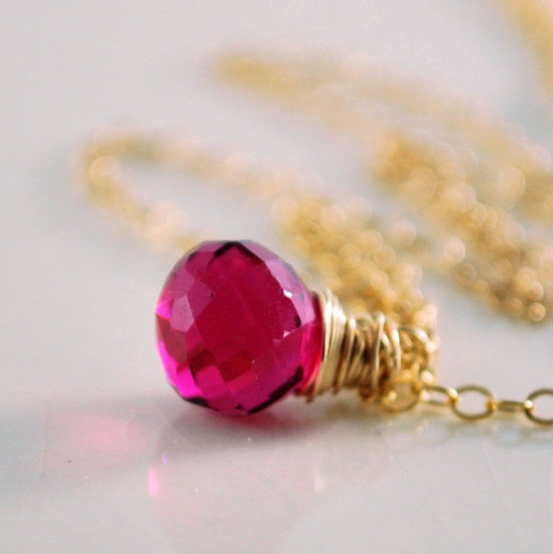 Simple Hot Pink Gemstone Necklace