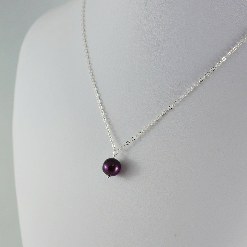 Burgundy Pearl Flower Girl Necklace