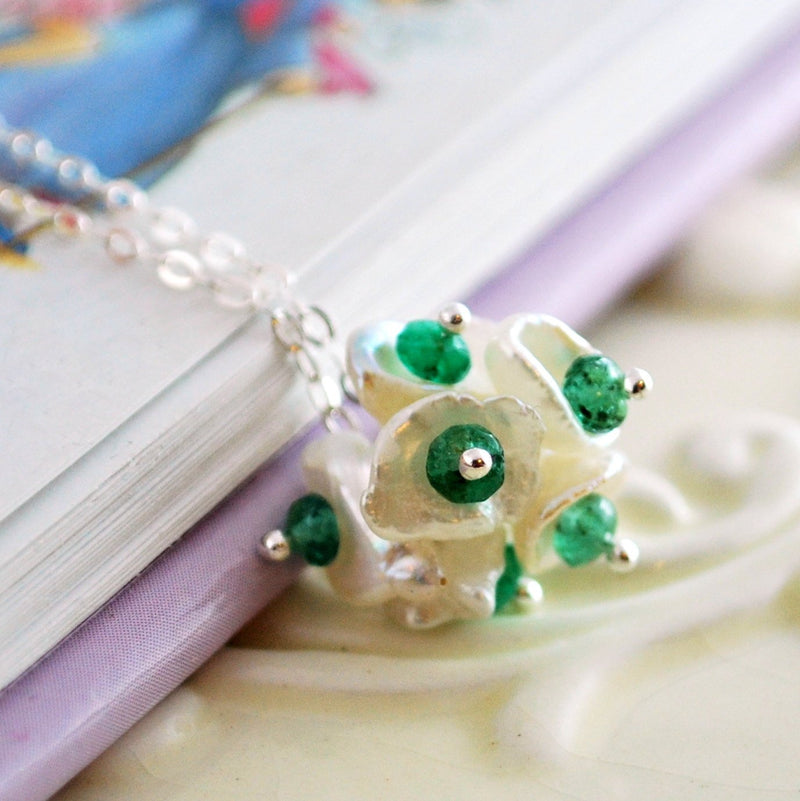 Real Emerald Necklace with Pearl Flower Blossom