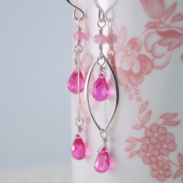 Hot Pink Quartz Earrings