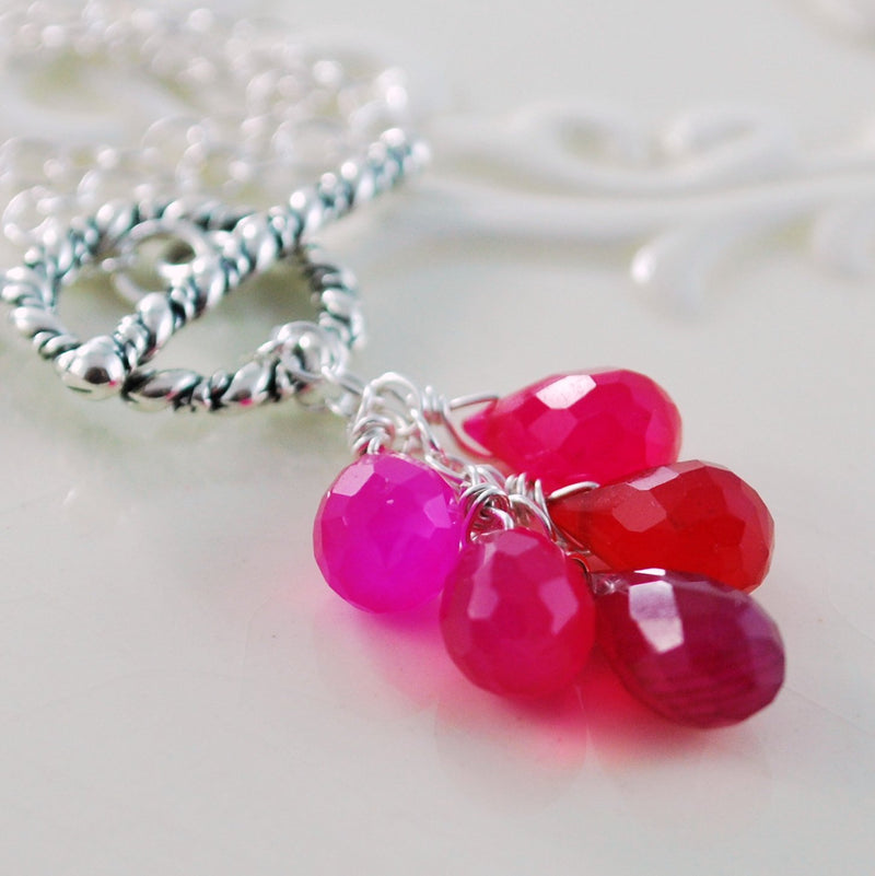 Toggle Necklace with Semiprecious Hot Pink and Fuchsia Chalcedony