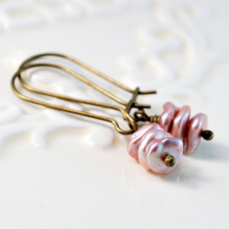 Antiqued Brass, Soft Rose Pink, and Genuine Freshwater Keishi Pearl