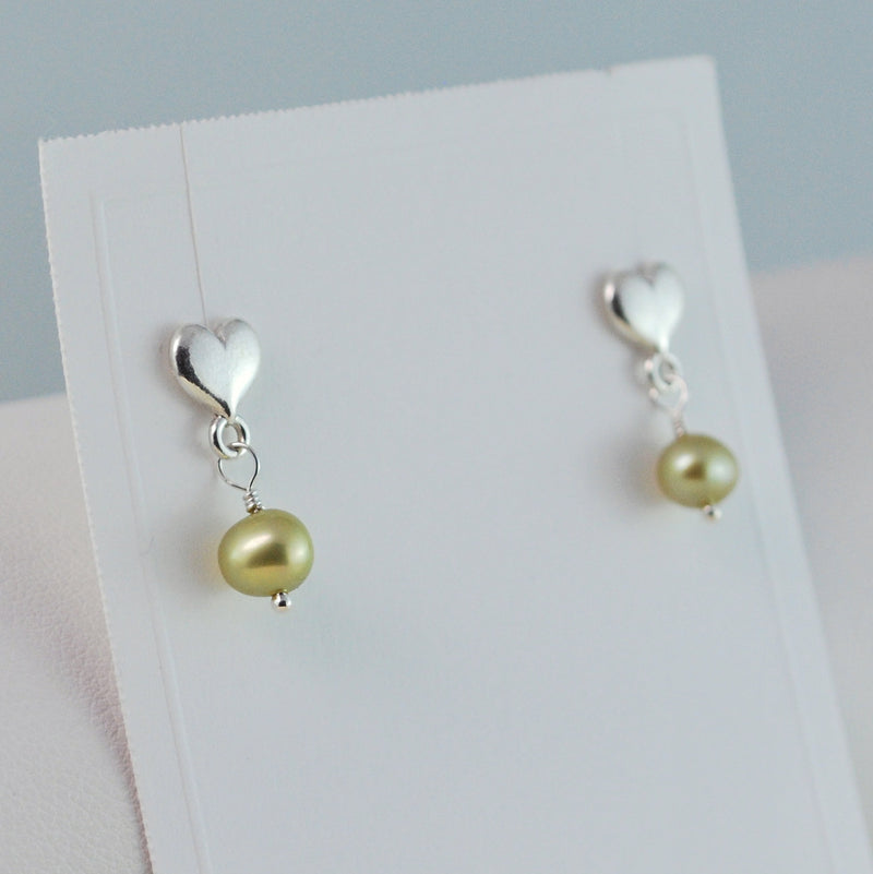 Spring Green Pearl Dangle Earrings