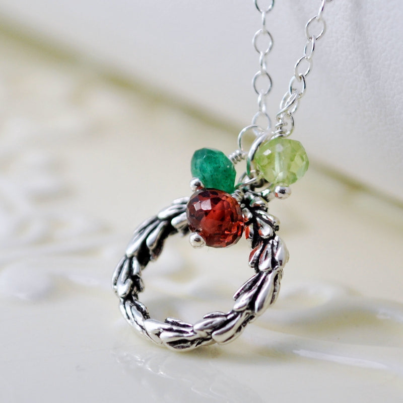 Sterling Silver Wreath Necklace with Gemstones